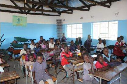 BrITE Foundation sponsored construction of toilet facilities in a new school building at Kasiya primary school in Zambia
